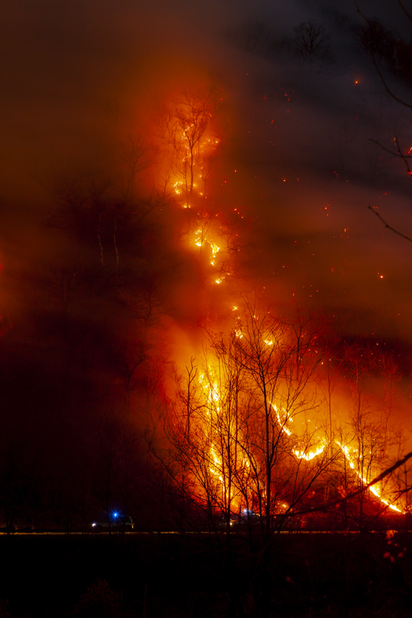 Inferno in the Alpine foothills of Northern Italy near Vercelli and Biella, Piedimont.